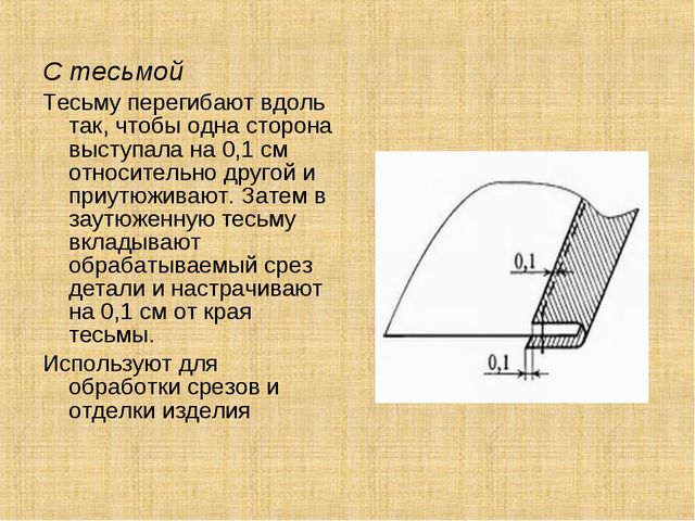 С тесьмой Тесьму перегибают вдоль так, чтобы одна сторона выступала на 0,1 см...