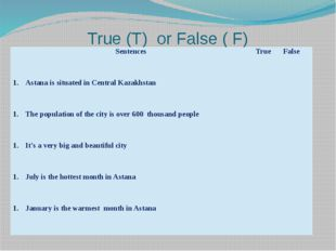 True (T) or False ( F) Sentences True False Astana is situated in Central Kaz
