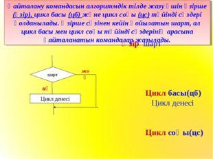 Қайталану командасын алгоритмдік тілде жазу үшін әзірше (әзір), цикл басы (цб