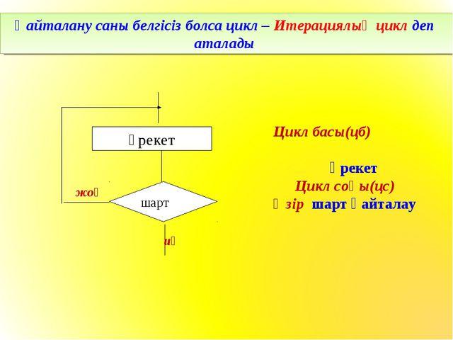 Қайталану саны белгісіз болса цикл – Итерациялық цикл деп аталады иә жоқ Цикл...