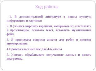 1. В дополнительной литературе я нашла нужную информацию и картинки 2. Я учи