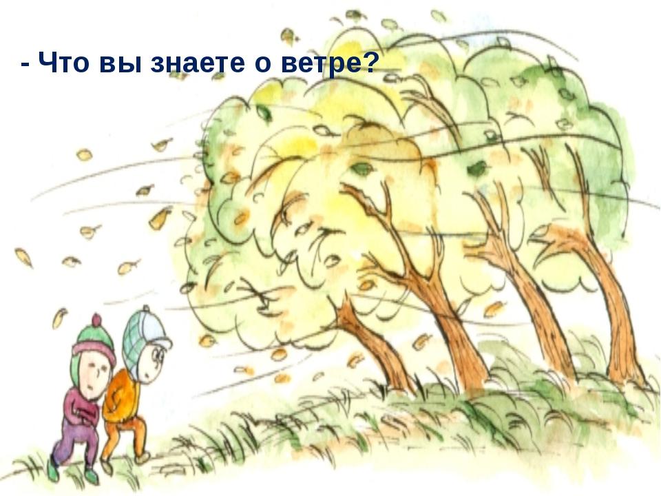- Что вы знаете о ветре?