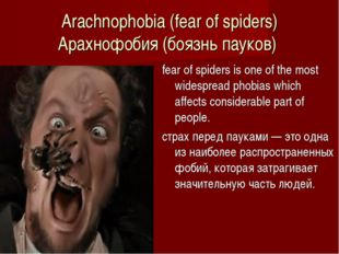 Arachnophobia (fear of spiders) Арахнофобия (боязнь пауков)  fear of spiders