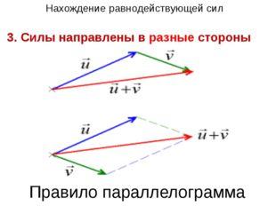 3. Силы направлены в разные стороны Нахождение равнодействующей сил Правило п