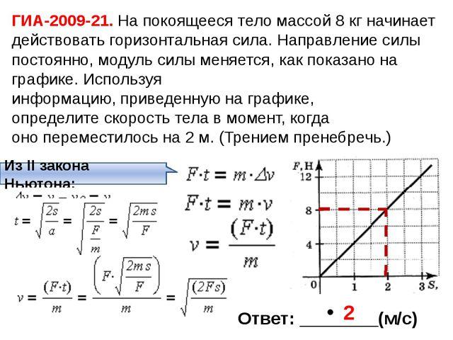 ГИА-2009-21. На покоящееся тело массой 8 кг начинает действовать горизонтальн...