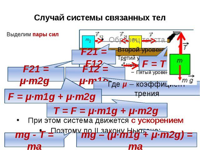 Выделим пары сил Случай системы связанных тел F = T F21 = F12 F12 = μ∙m1g F21...