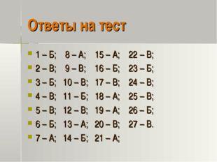 Ответы на тест 1 – Б; 8 – А; 15 – А; 22 – В; 2 – В; 9 – В; 16 – Б; 23 – Б; 3