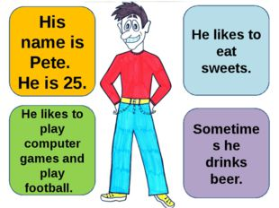 His name is Pete. He is 25. He likes to play computer games and play football