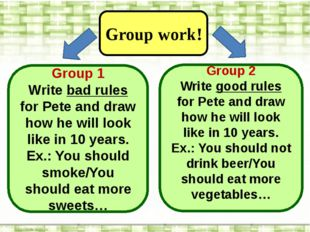 Group work! Group 1 Write bad rules for Pete and draw how he will look like