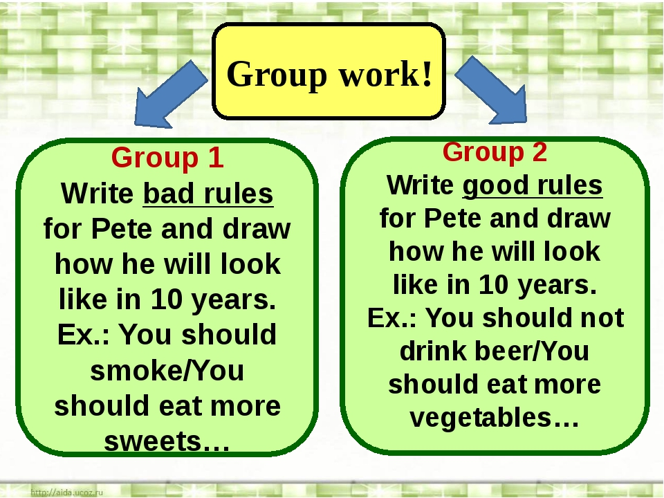 Group work! Group 1 Write bad rules for Pete and draw how he will look like...