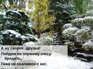 А ну скорее, друзья! Пойдем по первому снегу бродить, Пока не свалимся с ног.