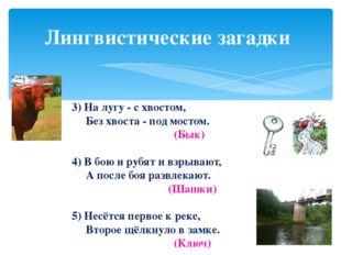 Лингвистические загадки 3) На лугу - с хвостом, Без хвоста - под мостом. (Бык