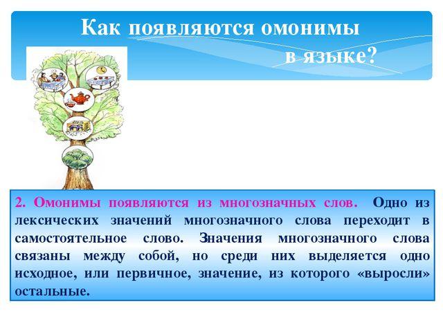 Как появляются омонимы в языке? 2. Омонимы появляются из многозначных слов. О...