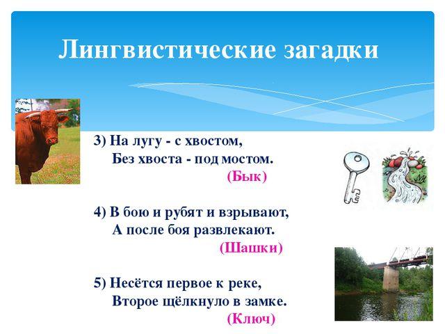 Лингвистические загадки 3) На лугу - с хвостом, Без хвоста - под мостом. (Бык...