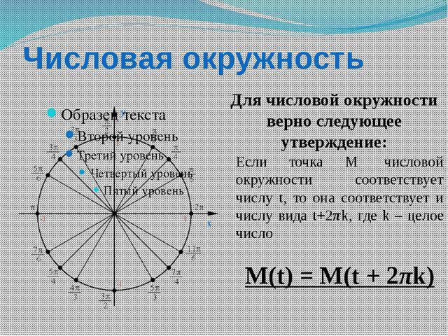 Числовая окружность Для числовой окружности верно следующее утверждение: Если...
