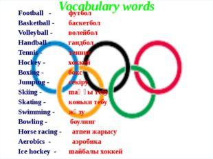 Vocabulary words Football - футбол Basketball - баскетбол Volleyball - волей