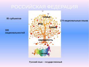 РОССИЙСКАЯ ФЕДЕРАЦИЯ семья род племя народность нация 85 субъектов 180 национ