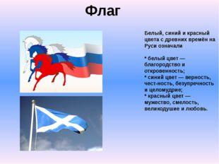 Флаг Белый, синий и красный цвета с древних времён на Руси означали * белый ц