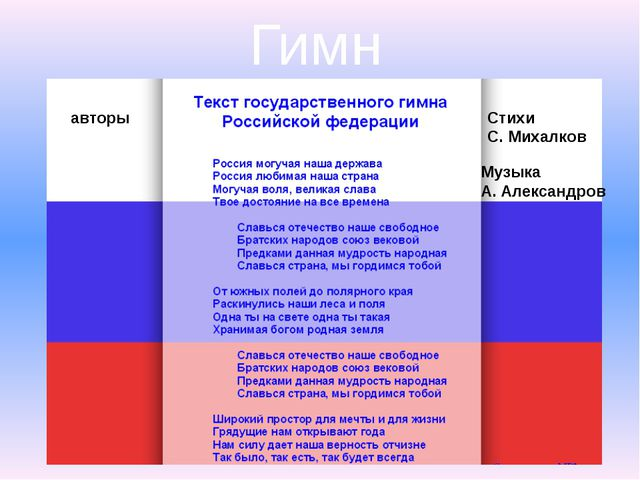 Гимн авторы Стихи С. Михалков Музыка А. Александров