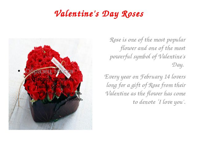 Valentine's Day Roses Rose is one of the most popular flower and one of the m...