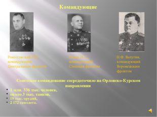 Рокоссовский К.К., командующий Центральным фронтом Конев И. С., командующий С
