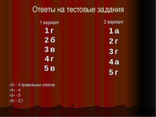 Ответы на тестовые задания 1 вариант 1 г 2 б 3 в 4 г 5 в «5» - 5 правильных о
