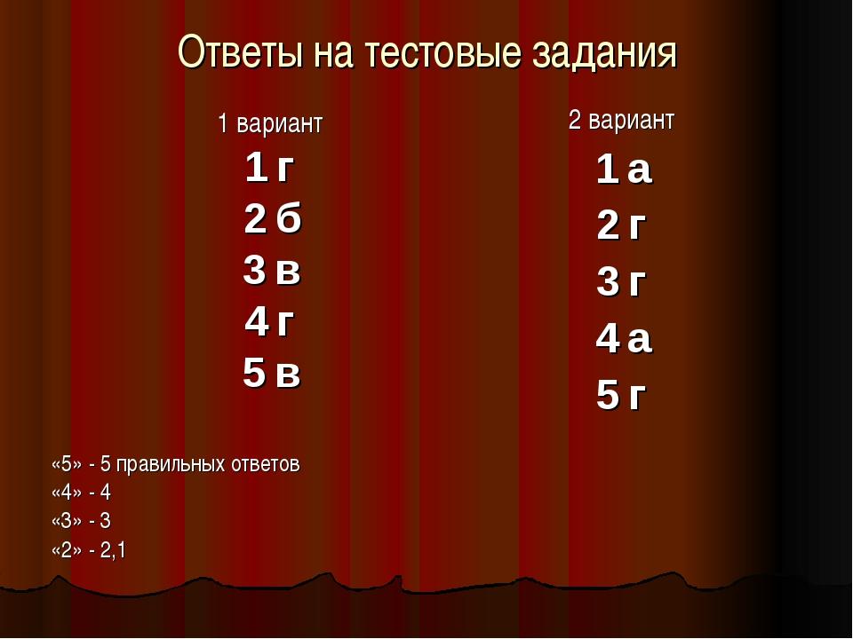 Ответы на тестовые задания 1 вариант 1 г 2 б 3 в 4 г 5 в «5» - 5 правильных о...