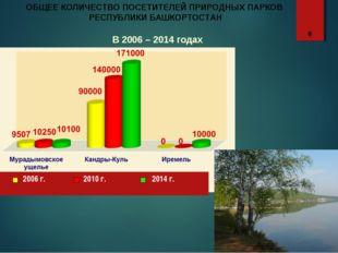 ОБЩЕЕ КОЛИЧЕСТВО ПОСЕТИТЕЛЕЙ ПРИРОДНЫХ ПАРКОВ РЕСПУБЛИКИ БАШКОРТОСТАН В 2006