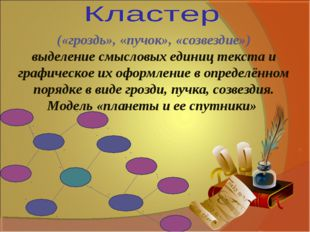 («гроздь», «пучок», «созвездие») выделение смысловых единиц текста и графичес