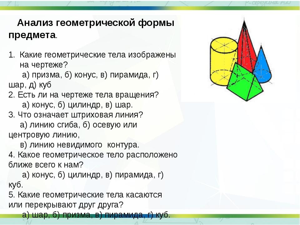 Анализ геометрической формы предмета. Какие геометрические тела изображены н...