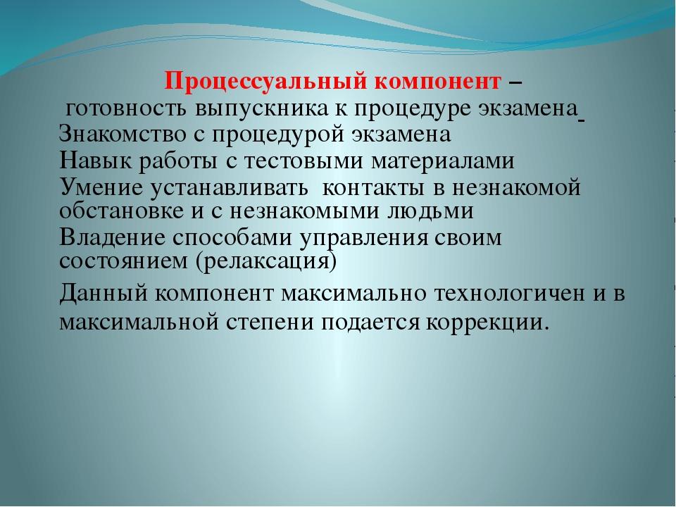 Процессуальный компонент – готовность выпускника к процедуре экзамена Знакомс...