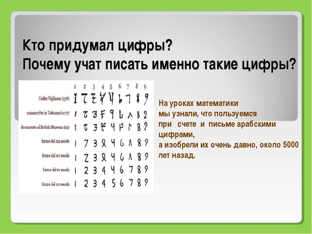 Кто придумал цифры? Почему учат писать именно такие цифры? На уроках математи...