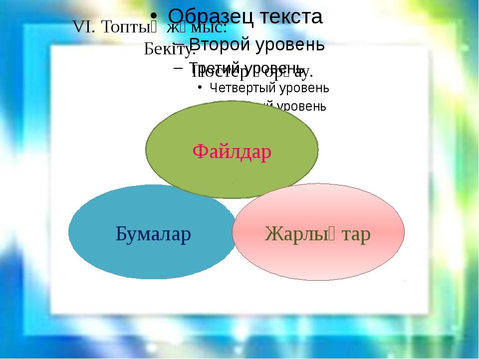 VI. Топтық жұмыс: Бекіту. Постер қорғау. Бумалар Файлдар Жарлықтар