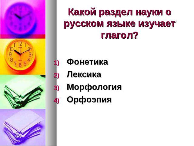 Какой раздел науки о русском языке изучает глагол? Фонетика Лексика Морфологи...
