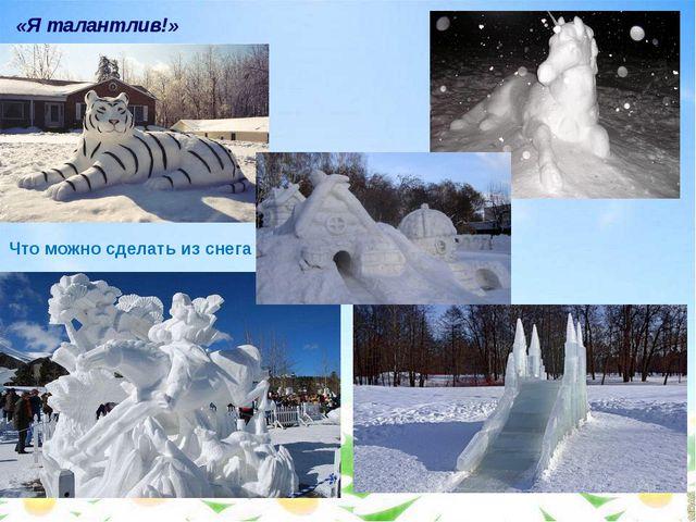 Что можно сделать из снега «Я талантлив!»