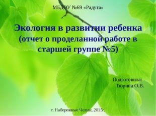 МБДОУ №69 «Радуга» Экология в развитии ребенка (отчет о проделанной работе в