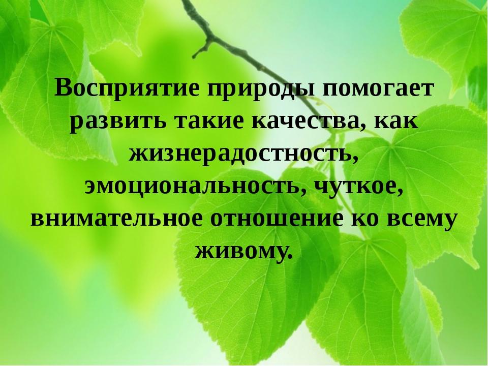 Восприятие природы помогает развить такие качества, как жизнерадостность, эмо...