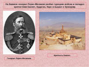 На Кавказе генерал Лорис-Меликов разбил турецкие войска и овладел крепостями