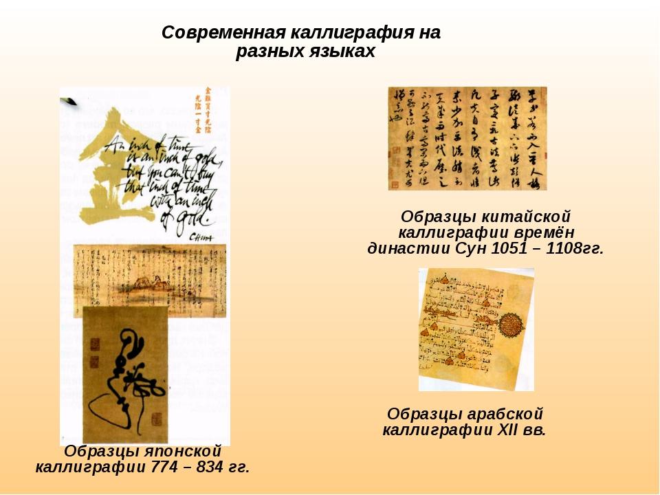 Современная каллиграфия на разных языках Образцы японской каллиграфии 774 –...