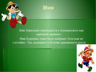 Имя Имя Пиноккио переводится с итальянского как «крепкий орешек».  Имя Бурат