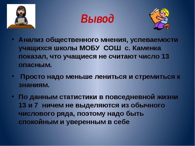 Вывод Анализ общественного мнения, успеваемости учащихся школы МОБУ СОШ с. Ка...