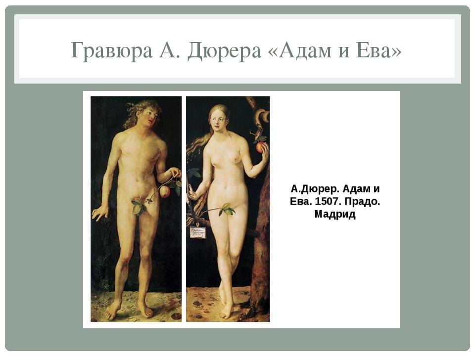 Гравюра А. Дюрера «Адам и Ева»