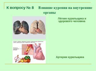 К вопросу № 8 Влияние курения на внутренние органы Лёгкие курильщика и здоров
