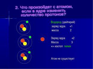 Атом не существует Заряд ядра +2 Масса 3 => изотоп гелия Водород (дейтерий) з