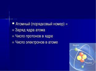 Атомный (порядковый номер) = = Заряд ядра атома = Число протонов в ядре = Чис