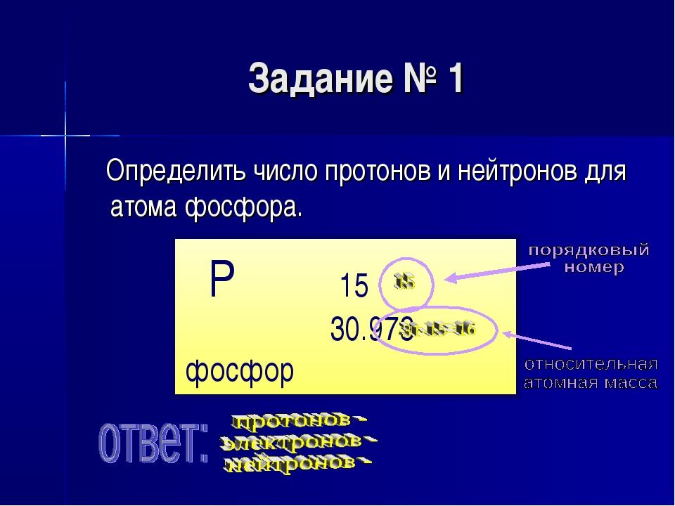 Задание № 1 Определить число протонов и нейтронов для атома фосфора. P 15 30....