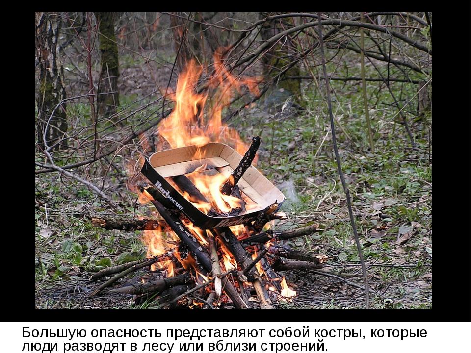 Большую опасность представляют собой костры, которые люди разводят в лесу ил...