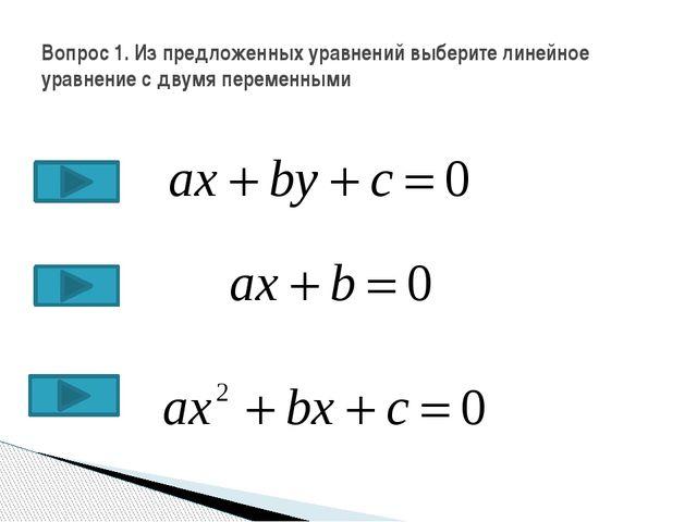 Вопрос 1. Из предложенных уравнений выберите линейное уравнение с двумя перем...