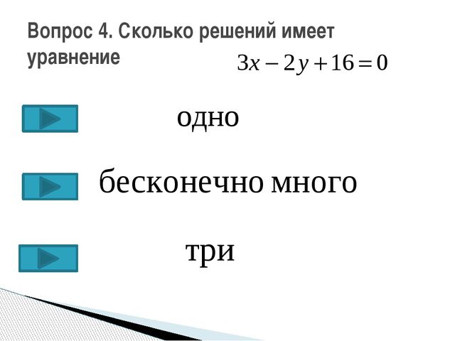 Вопрос 4. Сколько решений имеет уравнение