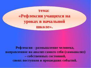 Рефлексия - размышление человека, направленное на анализ самого себя (самоана